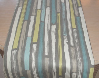 """4ft Table Runner 48"""" Duck Egg Blue Taupe Beige Grey Yellow and Ivory Cream Stripes NEW 120cm Table Runner"""