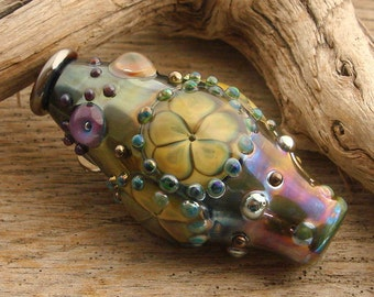 PARCHMENT FLOWERS - Handmade Lampwork Focal Bead - 1 Focal Bead - One of a Kind