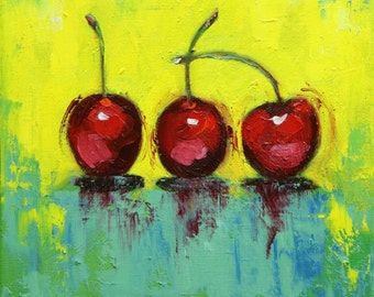 Cherries 14 still life painting 12x12 inch original oil painting by Roz