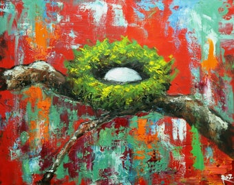 Nest painting 309 24x30 inch original bird nest portrait oil painting by Roz