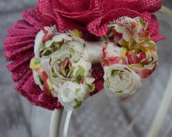 Pink Floral Shabby Bow and Sequin and Burlap Flower Headband