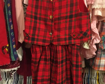 Top Piece Plaid Outfit Girls 5/6