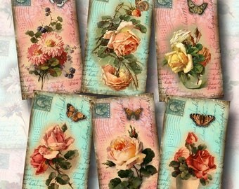 Floral Chic Vintage Art Hang Tags/Cards-PoSTCaRDs/ RoMaNCe-Sweet Pinks and Blues-INSTaNT DOWNLoAD- Printable Collage Sheet- JPG Digital File