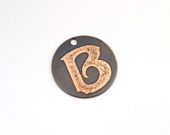 Small copper B charm, flat round handmade etched metal letter jewelry supply, 22mm