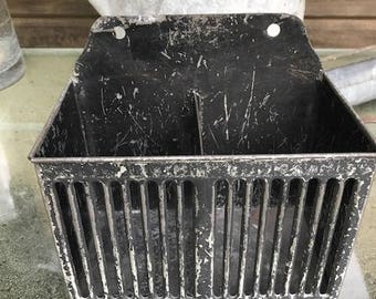 """antique metal box stands up or hang on the wall slotted front 5"""" by 7"""" by 4"""" great storage"""