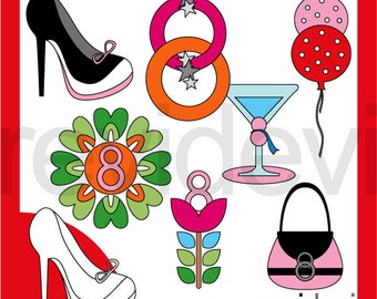 International Women's Day 8th March digital clipart - commercial use graphics - instant download