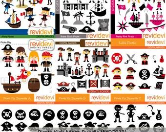 Pirate clipart sale bundle / Pirate kids clip art  commercial use digital images, instant download graphics