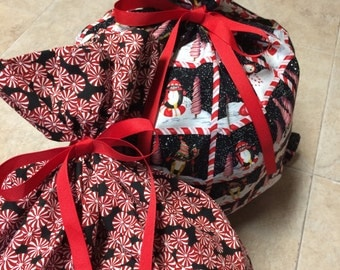 2 Large Christmas Gift Bags 20 inches x 24 inches and 20 inches x 29 inches - Reusable Eco-Friendly Cotton Fabric