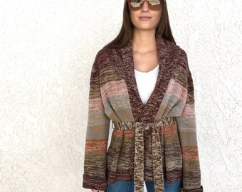 70s striped space dyed Belted long Cardigan