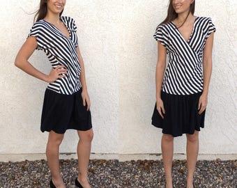 Vintage 80's black n white striped cotton dress
