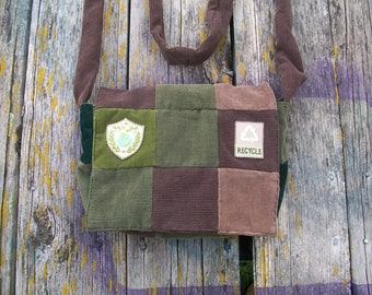 Browns Greens Recycle Go Green Patchwork Recycled Corduroy Purse Ready to Ship