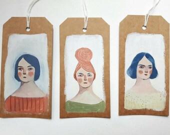 Art tags - Original tiny paintings