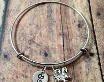 Turkey initial bangle - turkey jewelry, holiday bracelet, bird jewelry, turkey pendant, farm jewelry, Thanksgiving jewelry, bird bracelet