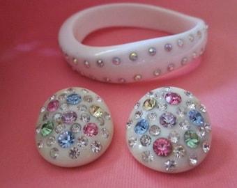 Vintage Rhinestone Bracelet and Earrings  white plastic