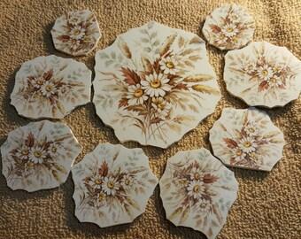 Mosaic Tiles VINTAGE FLOWER CENTERS Mosaic Tile