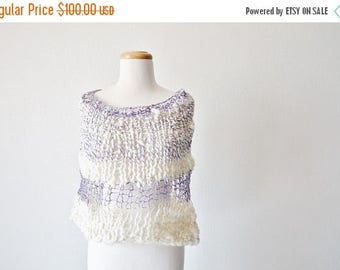 May Sale - 20% off Hand Knit Cape/ Cowl. Ice Princess. Hand Knit Super Chunky Cape Poncho Cowl Wrap in Merino Wool and Linen. Purple & White