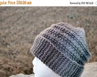 May Sale - 20% off CORRUGATE Hat in Sand & Fog - Hand Knit Hand Made Unique Design Slouchable Beanie Grey Surf Beanie Slouch Hat All Seasons