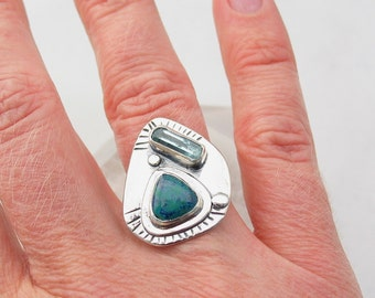 Aquamarine Ring, Shattucktite, Chrysocolla, Stone Ring, Artisan Jewelry, Raw Crystal, Natural Stone Jewelry, Sterling Silver