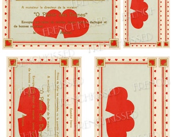 Double Red Heart with French Text Valentine Postcard Digital Printable