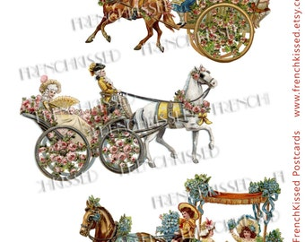 Trio of Horse Drawn Carriages Wagons with Flowers Blue Orange Yellow Pink Antique French Postcards PNG Cutouts Commercial Use