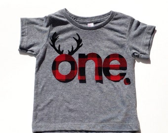 Lumberjack Birthday,Buffalo Plaid, Antlers,One,First Birthday,Fabric Iron On Appliques,Other Numbers Available