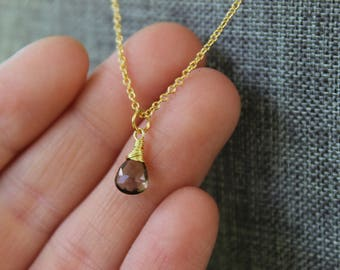 Faceted Smoky Quartz Briolette Gold Necklace