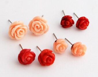 Genuine Bamboo Coral Rose Stud Earrings, Stainless Steel Studs, Carved Rose Earrings, Red Rose Studs, White Rose Studs, Peach Rose Earrings