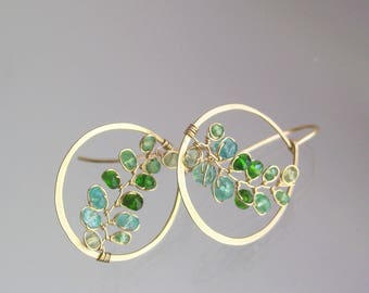 Small Gemstone 14k Gold Filled Hoops, Hand Wrought Vine Earrings with Tsavorite, Emerald, and Chrome Diopside