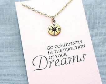 Graduation Gifts | Compass Necklace, Student Gifts, Compass Rose, Graduation Gifts, Class of 2017, Student Gift, College Student, Grad | G01