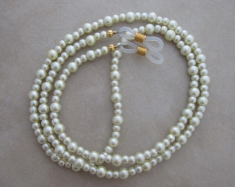 ivory pearl gold eyeglass chain holder