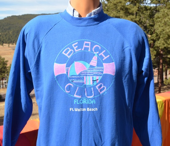 vintage 80s sweatshirt BEACH CLUB fort walton florida raglan Large Medium