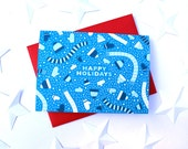 Set of 10 Winter Wear in dark blue Holiday Greeting Cards