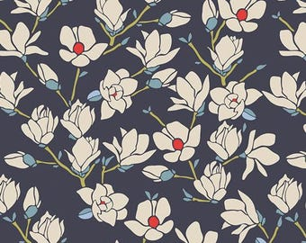 Charleston Magnolia in Nightfall - Charleston Collection by Amy Sinibaldi for Art Gallery Fabrics - 100% cotton quilting fabric by the yard