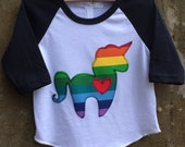 Girls Rainbow Unicorn with Heart Shirt - Black/White Baseball Style Top for Children - Great Baby or Kids Gift - Fun Birthday Party Outfit