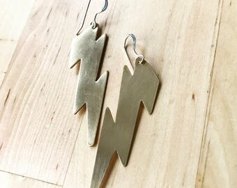 10 points to Gryffindor brass and sterling lightning dangle earrings