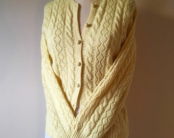 SALE! 1950's Buttery Yellow Wool Cardigan