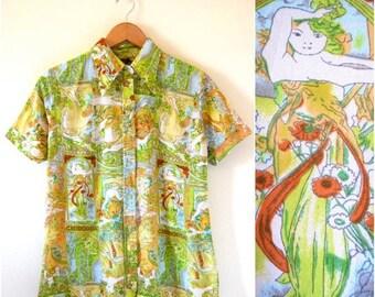 SPRING SALE / 30% off Vintage 70s Cismonda Novelty Print Short Sleeved Button Down Collared Shirt (size medium, large)