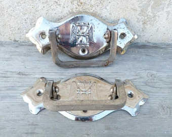Vintage Antique old French pair of iron coffin handles