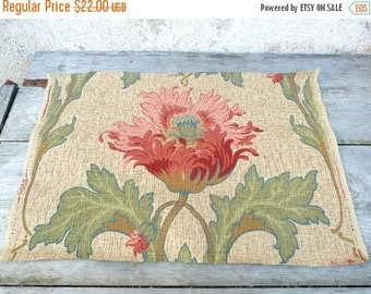 ON SALE 20% Vintage Antique 1890 Victorian French  wallpaper piece Painted / Gouache 19.6 inches x 13 inches