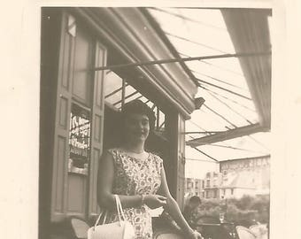 Vintage Antique old French real photography black & white  1950s  lady at the cafe terrace Paris