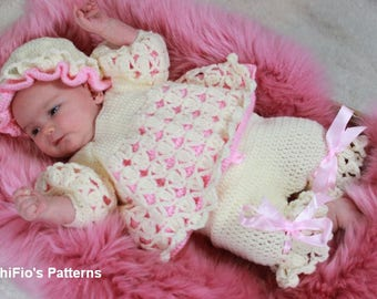 CROCHET PATTERN For Spring Rose Angel Top, Pants & Mop Cap in 3 Sizes  PDF 194 Digital Download