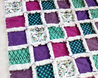 Shabby Chic Minky Rag Quilt – Baby Girl Toddler Quilt –Car Seat/Stroller Blanket – Peacock, Jewel Tones, Navy, Purple, Teal – Crib Blanket