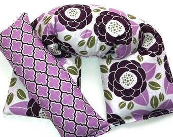 Aromatherapy Gift Set, Microwave Wrap and Eye Pillow Rice Flaxseed Lavender Unscented