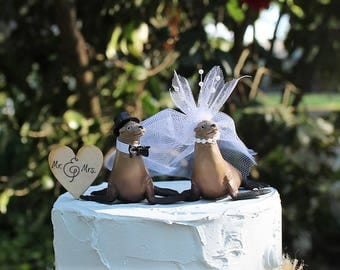 Sea Lion Wedding Cake Topper, Seal Cake Topper, Beach-Ocean Wedding Cake Topper, Animal Cake Topper, Sea Life Bride and Groom,