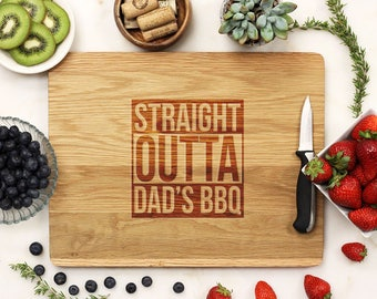 Personalized Cutting Board, Custom Cutting Board, Engraved Cutting Board, Father's Day Dad BBQ Gifts for Him White Oak Wood --21202-CUTB-004
