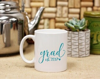 Personalized Grad Graduation Date Coffee Mug, Custom Print Coffee Mug, Ceramic Coffee Mug, White Only --27124-CM03-601