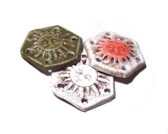Basket Base Set of 3 Small Ceramic Stoneware Pottery Basket Starts Button Coiling Pine Needle Basket Textured Sunburst Designs Hexagon