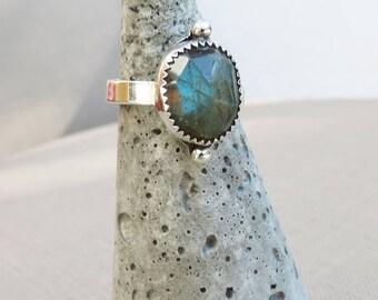 Sterling Silver Labradorite Ring Crystal Jewelry Protection Ring Labradorite Jewelry Stacking Silver Ring Handmade Ring