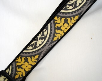 Large Dog Collar - 1.5 Inches Wide - Grey & Yellow  - Wide Dog Collar - Adjustable Between 15-23 Inches - READY TO SHIP