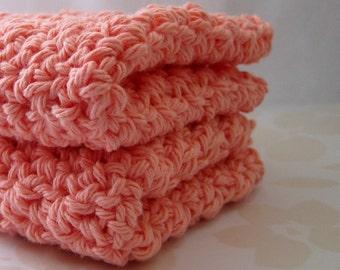 Peach Crochet Washcloths, Cotton Dish Cloths, Crocheted Wash Cloths, Pastel Dishcloths, Eco Friendly Cleaning